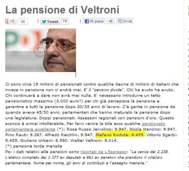 Quirinale 2013: quando Beppe Grillo sul sul blog criticava la pensione d'oro di Stefano Rodotà