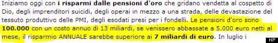 Grillonomics, la riforma delle pensioni secondo Beppe Grillo. Un tetto agli assegni il cui importo oscilla...