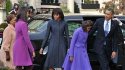 Look da First Lady: cappotto blu e abito Thom Browne (FOTO,