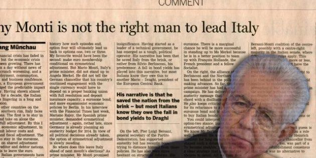 Mario Monti risponde alle critiche del Financial Time: