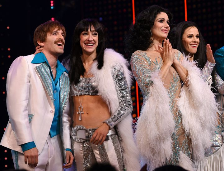 "Diamond (second from left) stars as ""Babe"" Cher alongside Jarrod Spector as Sonny Bono, Stephanie J. Block as ""Star"" Cher and"