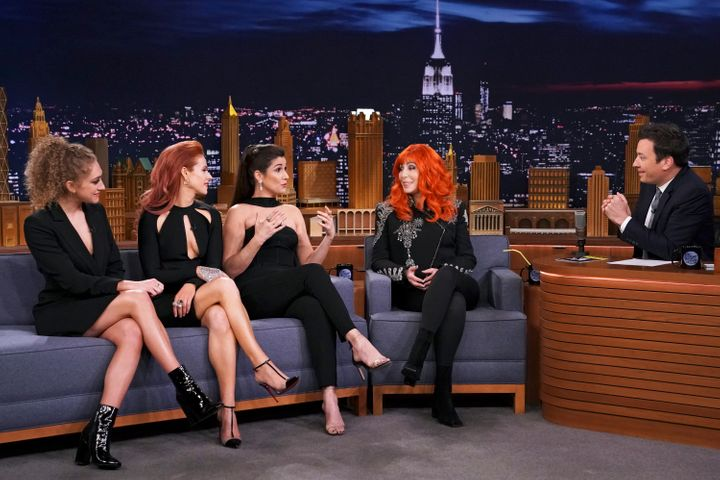 "Diamond (far left) appeared with her ""Cher Show"" co-stars Wicks and Block — along with Cher herself — on ""The Ton"