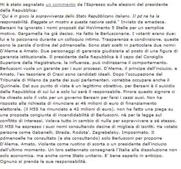 Quirinale 2013: Beppe Grillo attacca Pier Luigi Bersani: