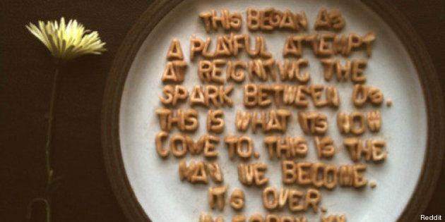 La fine di un rapporto è più dolce se scritta con i cereali per la colazione? La bizzarra lettera d'addio...