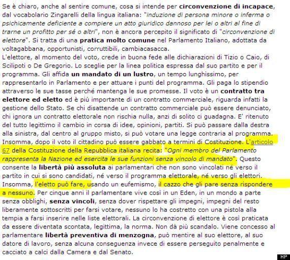 Risultati elezioni 2013, Grillo se la prende con l'articolo 67 della Costituzione. Permette ai parlamentari...