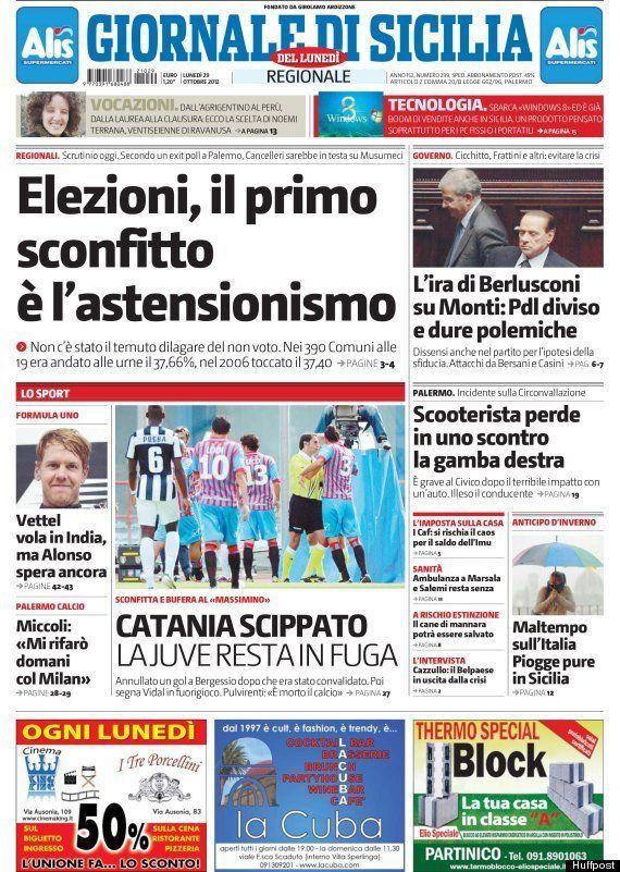 Regionali 2012 in Sicilia: la gaffe del Giornale di Sicilia che premia l'astensionismo