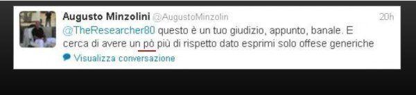 Troppi insulti: Twitter sospende il profilo di Augusto Minzolini. Che scarica la responsabilità sul figlio