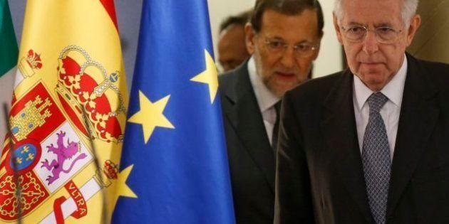 Mario Monti in conferenza stampa con Mariano Rajoy: