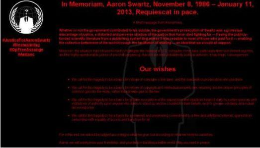 Anonymous attacca il governo USA nel nome di Aaron Swartz ma ne tradisce lo