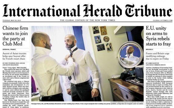 Nozze gay: sul New York Times matrimonio simbolico a Roma,