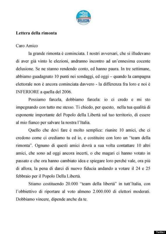 Elezioni 2013: Silvio Berlusconi pubblica la