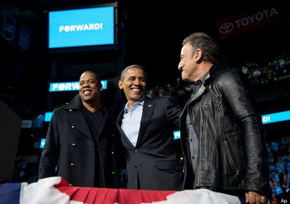 Elezioni americane: la maratona finale. Bruce Springsteen abbraccia Obama in Wisconsin (FOTO,