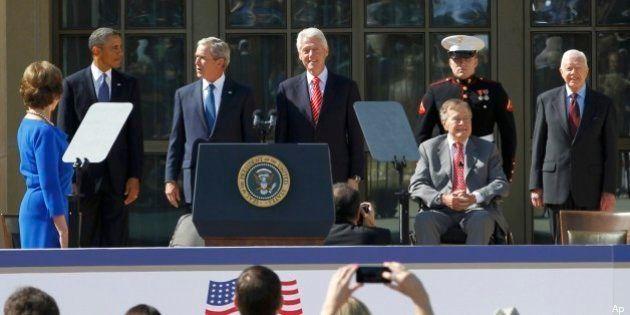 Dallas, all'inaugurazione della biblioteca-museo dedicata a George W Bush sfilata di ex presidenti