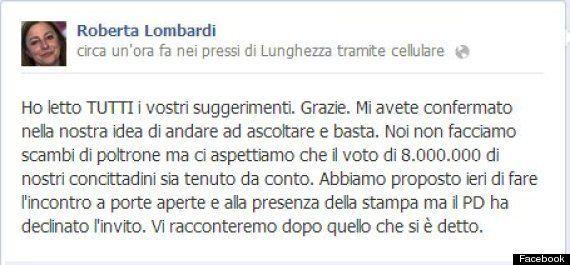 Movimento 5 stelle, la capogruppo alla Camera Roberta Lombardi sull'incontro con i pontieri: