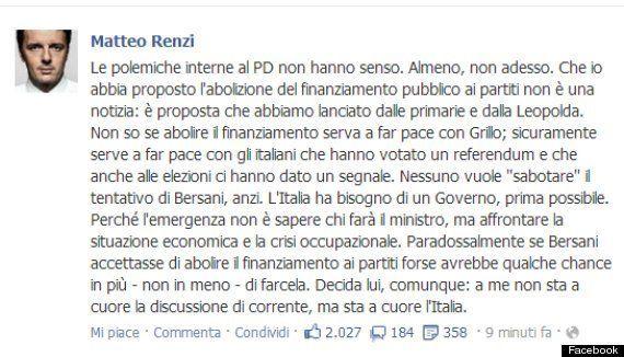 Governo, Matteo Renzi sfida Pier Luigi Bersani: