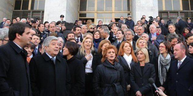 Giorgio Napolitano dopo l'incontro con Angelino Alfano: