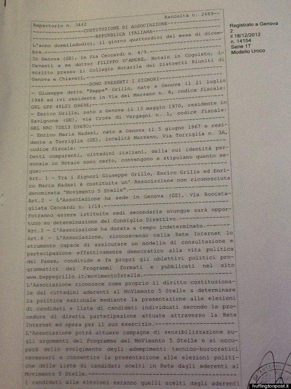 M5s, ecco lo statuto del Movimento 5 stelle. L'atto costitutivo firmato a Cogoleto da Beppe Grillo, il...