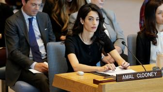 Amal Clooney participates in a Security Council meeting on sexual violence at United Nations headquarters, Tuesday, April 23, 2019. (AP Photo/Seth Wenig)