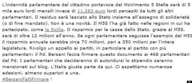 Beppe Grillo lancia un appello a Bersani: