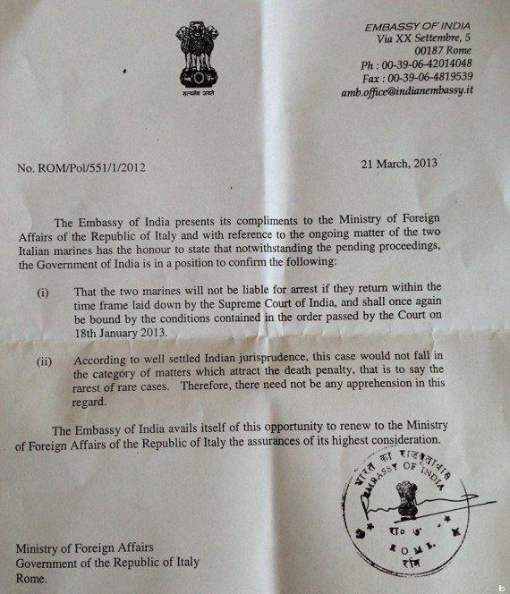 Marò in India, l'ambasciata indiana promette che non è prevista la pena di morte (DOCUMENTO,
