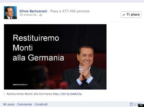 Silvio Berlusconi su Facebook: