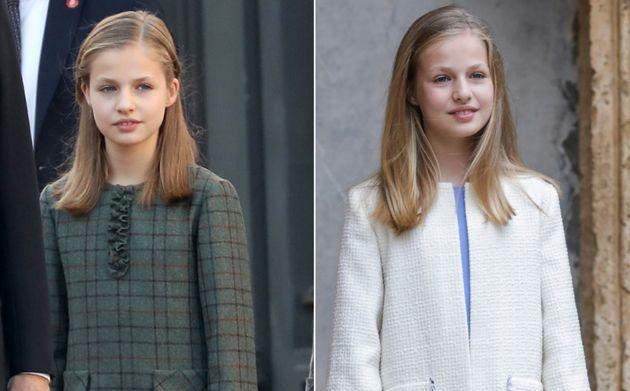 La princesa Leonor con cinco meses de diferencia: a la izquierda el 6 de diciembre de 2018 y a la derecha...
