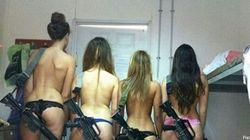 Con bikini, fucile ed occhiali