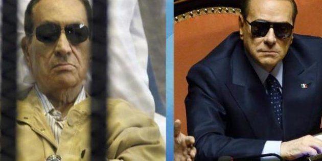 Silvio Berlusconi con gli occhiali da sole in Parlamento. La satira sull'uveite