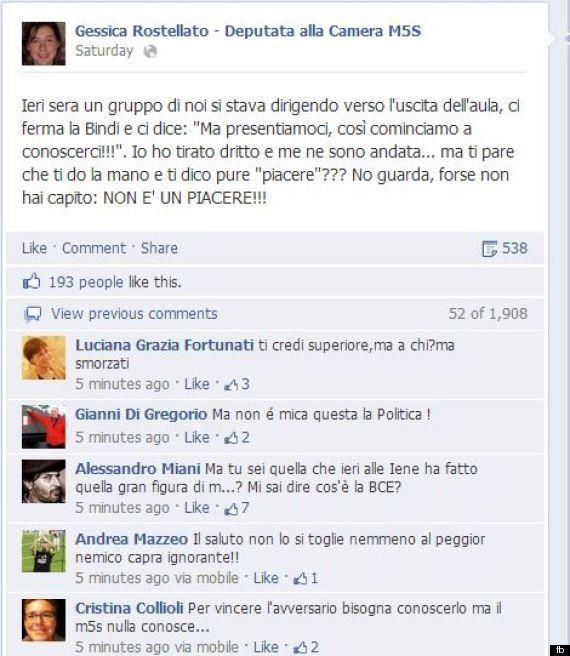 M5s: la deputata Gessica Rostellato si vanta su Facebook di aver negato il saluto a Rosy Bindi, la rete...