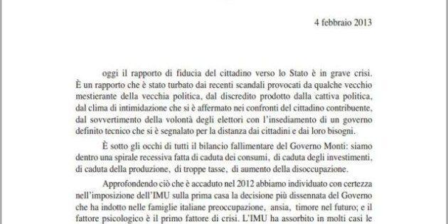 Elezioni 2013: Silvio Berlusconi scrive una lettera agli italiani: