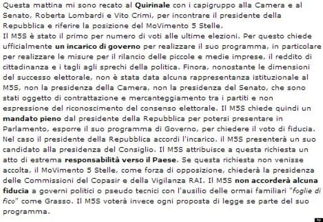 Beppe Grillo dopo l'incontro con Napolitano scrive sul blog: