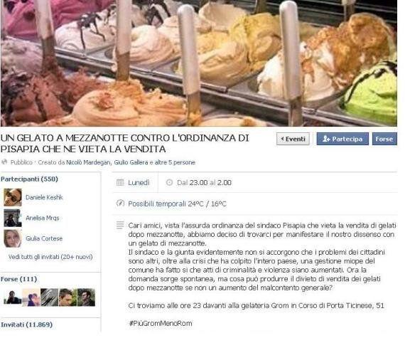 Ordinanza Pisapia contro il gelato dopo le 24. Su Facebook i politici Pdl e Fdi lanciano l'hashtag