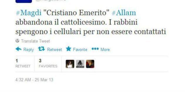 Magdi Allam abbandona il cattolicesimo e su Twitter è già ironia: