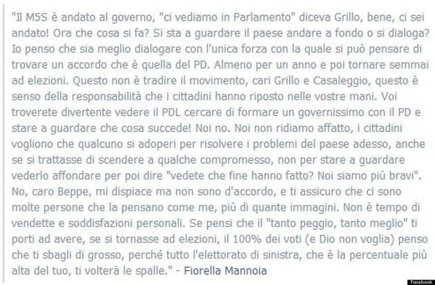 L'appello di Fiorella Mannoia a Grillo: