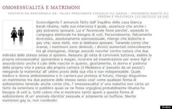 Omofobia, Mariangela Ielasi, coordinatrice di Fli a Garda (Vr), crede che i gay siano malati. Per Fli...