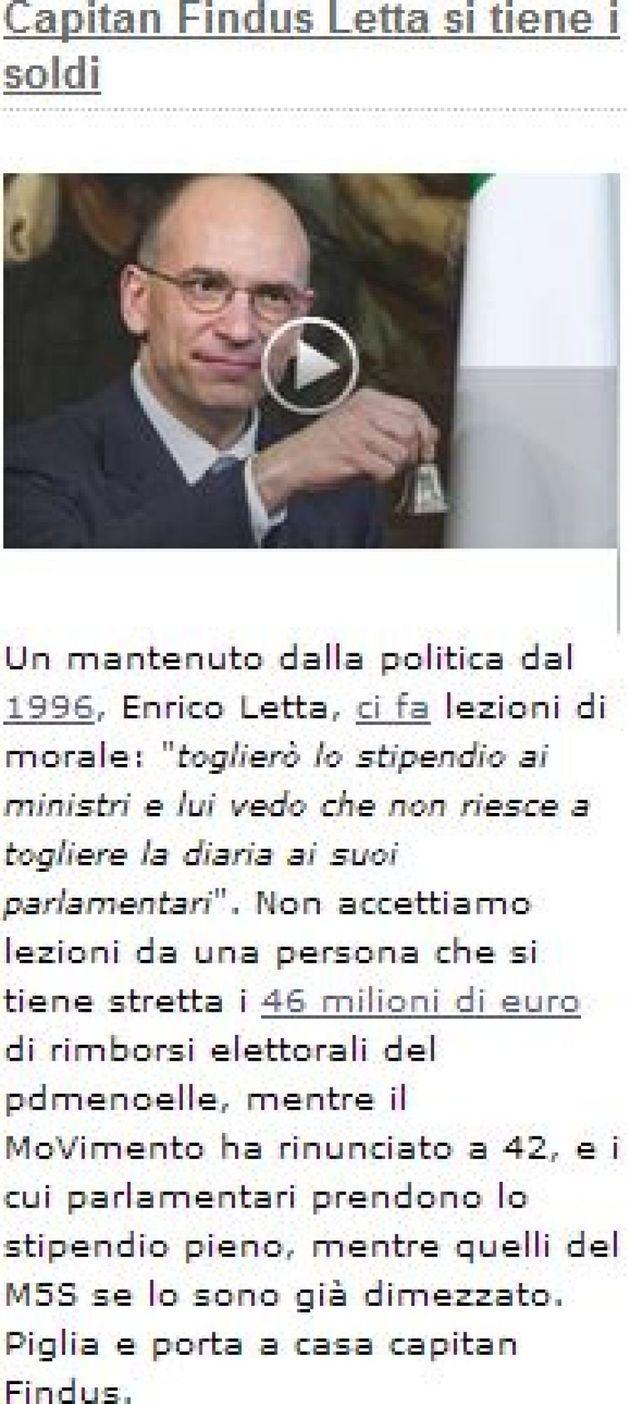 Letta contro Grillo: