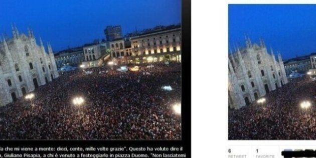 Pier Luigi Bersani e la 'foto sbagliata' su Twitter: Piazza Duomo era quella di Pisapia
