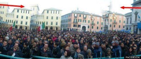 Beppe Grillo e la foto tarocca a Savona: la piazza
