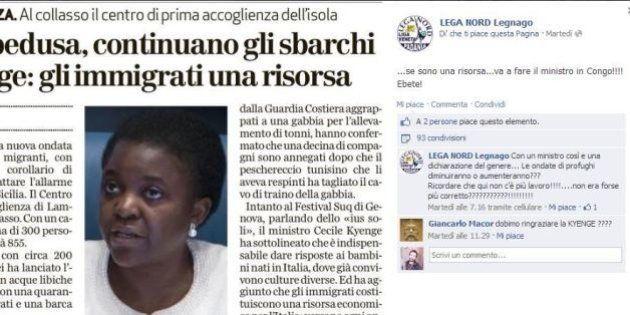 I leghisti Legnago insultano Cecile Kyenge su Facebook:
