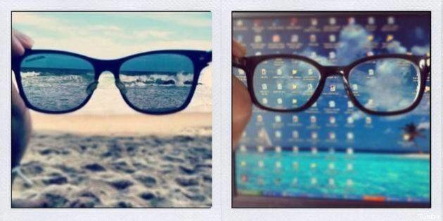 Foto delle vacanze: il meme su Tumblr. In ufficio o al mare? Trova le differenze