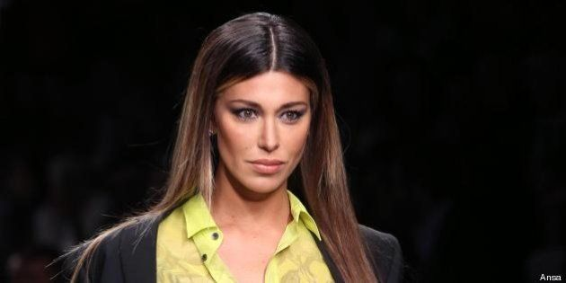 Belen Rodriguez sfila per John Richmond. La showgirl star della Milano Fashion Week
