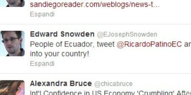 Edward Snowden appello su Twitter all'Ecuador: