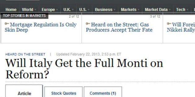 Elezioni 2013, Wall Street Journal pessimista: