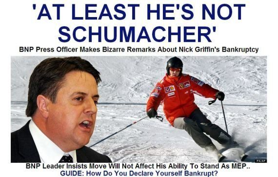 Michael Schumacher in coma. La gaffe del portavoce di Nick Griffin (British National Party):