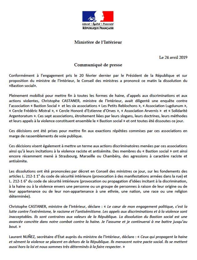 Le communiqué du ministère de l'Intérieur sur la dissolution du Bastion