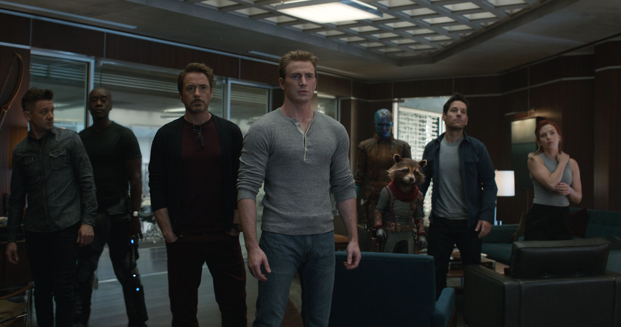 Marvel Studios' AVENGERS: ENDGAME  L to R: Hawkeye/Clint Barton (Jeremy Renner), War Machine/James Rhodey (Don Cheadle), Iron Man/Tony Stark (Robert Downey Jr.), Captain America/Steve Rogers (Chris Evans), Nebula (Karen Gillan), Rocket (voiced by Bradley Cooper), Ant-Man/Scott Lang (Paul Rudd) and Black Widow/Natasha Romanoff (Scarlett Johansson)  Photo: Film Frame  ©Marvel Studios 2019