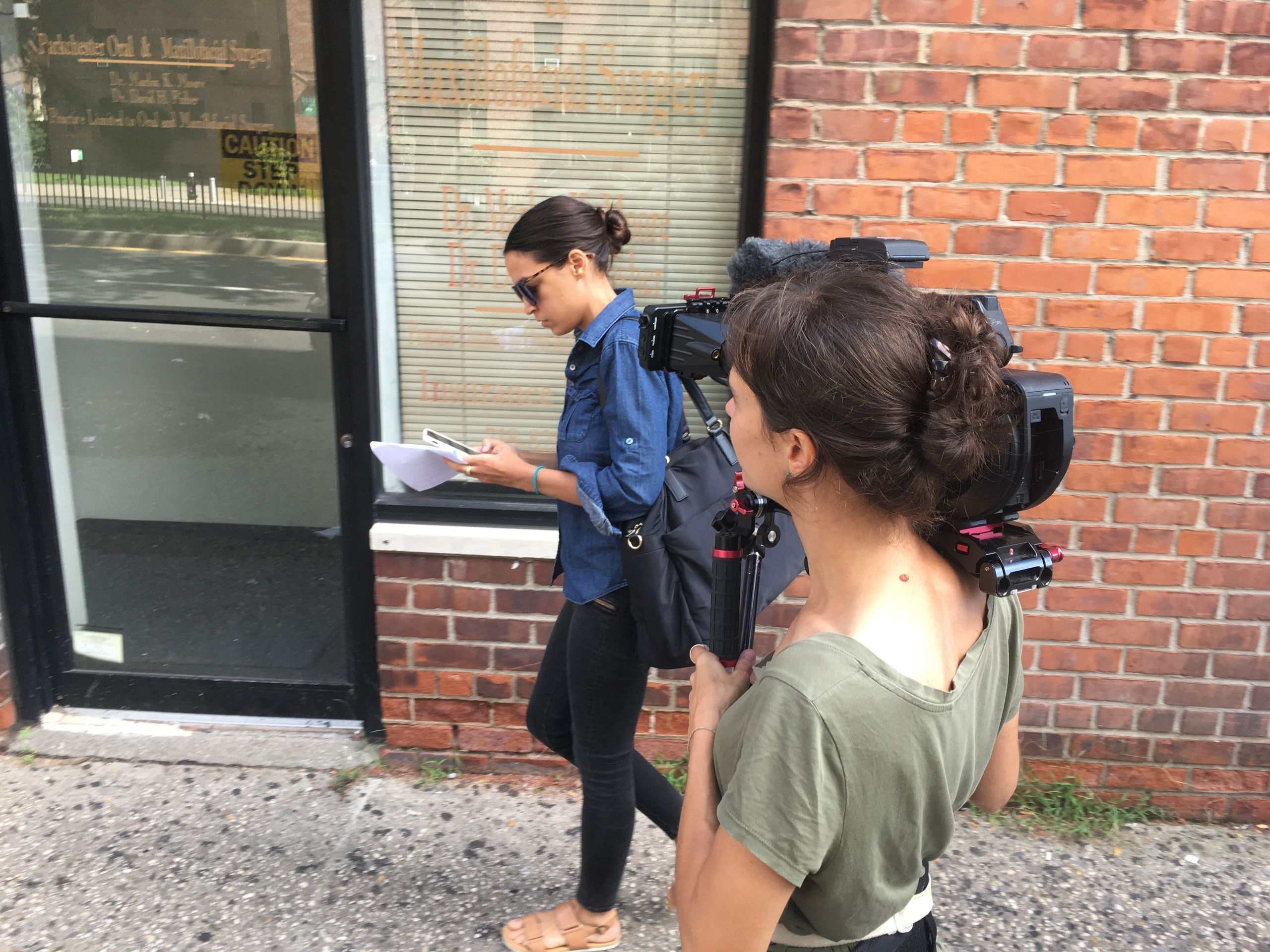 "Filmmaker Rachel Lears (right) films then-congressional candidate Alexandria Ocasio-Cortez during production for ""Knock Down"