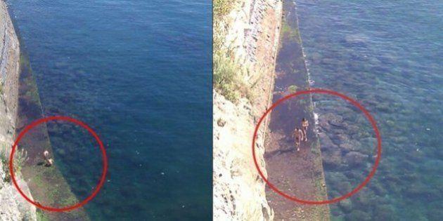 Fanno il bagno nudi sotto gli occhi dei passanti a Napoli: il tuffo di una coppia nel mare di Castel...