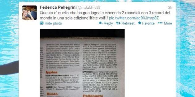 Federica Pellegrini polemica sui premi per i Mondiali 2009: