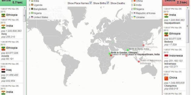 MAPPA Nascite e morti in tempo reale nel mondo. Il progetto di Brad